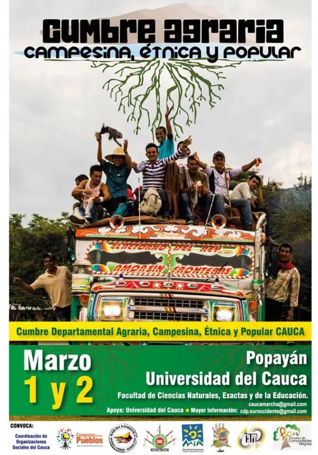 cumbre agraria  Cauca convocatoria 2014